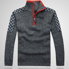 Warm Winter Sweaters Casual Men's  Knitwear Classic pullovers Man Middle-aged Blending Stand Collar Clothing Free Shipping(China (Mainland))