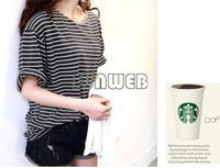 New 2014 summer Free size basic shirt female tops young girl stripe loose half sleeve t-shirt Wholesale B18 SV005952