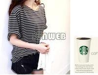 New 2014 summer Free size basic shirt female tops young girl stripe loose half sleeve t-shirt Wholesale B18 SV005952