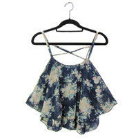 2015 Sexy Floral Chiffon Camisole Women Summer Top Sleeveless Spaghetti Flower Floral Chiffon Crop Tanks Blouse