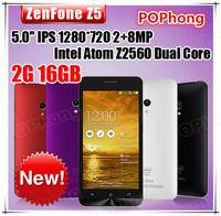 "Original ZenFone 5 Mobile Phone for ASUS 2GB RAM 16GB ROM Play Store Corning Gorilla Intel Z2560 5"" IPS 8MP WCDMA GPS"
