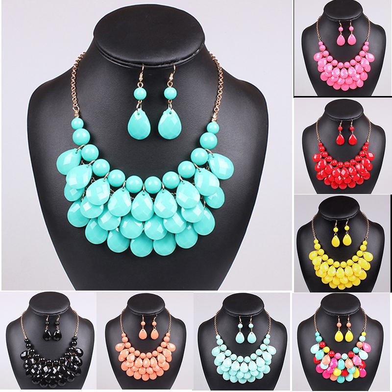 Hot Acrylic Bead Chokers Statement Necklaces 2014 Bib Bubble Necklace Earrings Jewelry Set Multi layer Jewellery Sets Collar(China (Mainland))