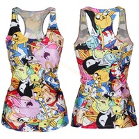 Free Shipping Summer New 2014 Women T-shirt RIBS 3D Vest Tops Skull Bone Camisole Sexy Tank top Funny Punk Style b14 SV002013