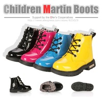 2014 Fashion children martin boots Bright japanned motorcycle child kids Snow boots PU leather sneaker casual shoe free shipping