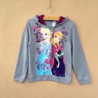 autumn children's elsa and Anna hoodies jacket  coat Frozen Autumn long sleeve girls princess frozen hoodie outwear