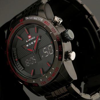 2015 новый мужские часы аналоговые и цифровой многофункциональный часы черный нержавеющая сталь военная спортивные часы бесплатная доставка