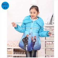 nuevo 2014 niños winteroutwear, congelados niñas abrigo de invierno, chaqueta, historieta caliente bebé kidsclothing tamaño 110 a 140, envío gratis(China (Mainland))
