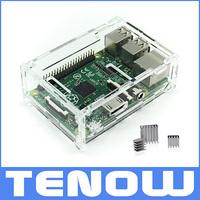 Raspberry Pi Model B+ Case Transparent Clear Case Enclosure Box Acrylic Clear Case Add 3 pcs Pure Heat Sink