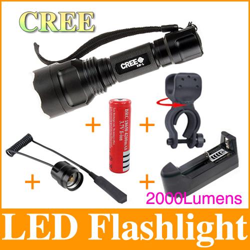 1 model C8 High Power LED Flashlight CREE xml-t6 2000 lumens torch flashlight+18650 battery + remote switch + bike clip LF12(China (Mainland))