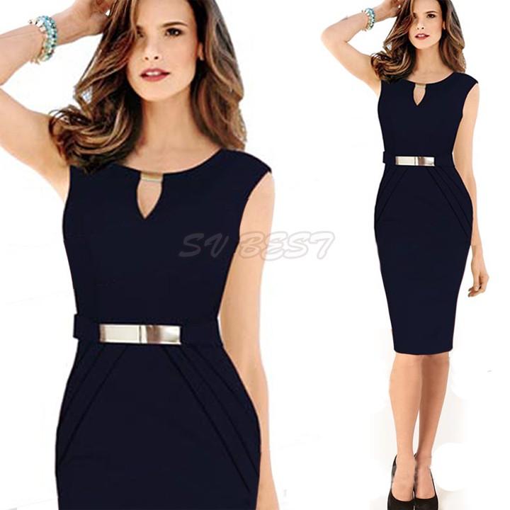 Big Discount !2014 Party Dresses Women Summer Keyhole Tunic Knee-Length Pencil Business Dress 30(China (Mainland))