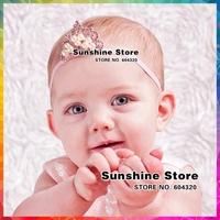 Baby Girls Tiaras Infant princess crown headband baby tiaras elastic band baptism as gift  hair accessories  #8W0053 10pcs/lot