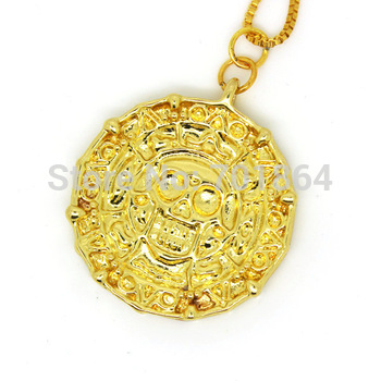 Free Shipping - Gold plated Aztec Coin Pendant Necklace with Chain from the Pirates of the Caribbean Gift Pouch Packing