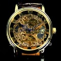 Free Shipping, 2012 New  hand winding mechanical skeletion watch, golden case, leather strap,