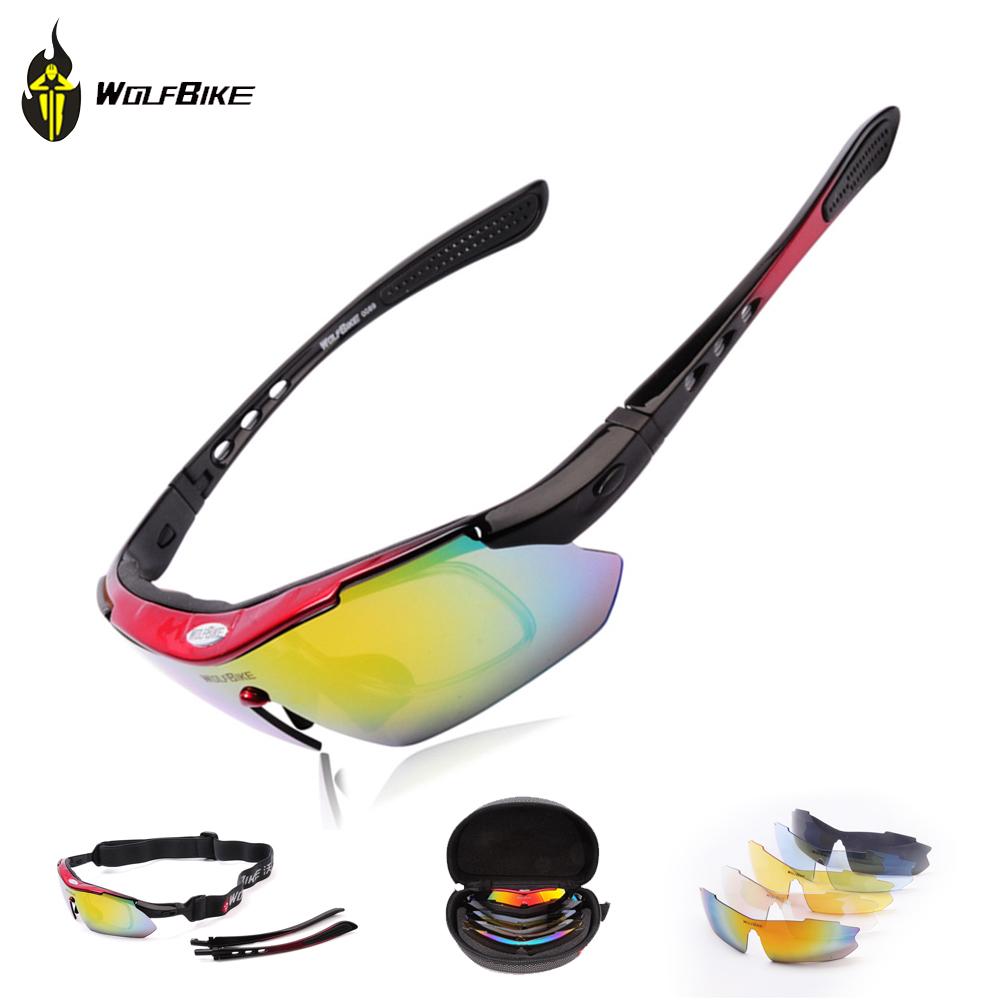 Professionnel wolfbike polarisée lunettes cyclisme, vélo, occasionnelsprix motocross, vélo. lunettes lunettes de soleil uv 400 avec 5 5 lentille de couleur