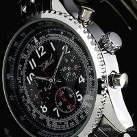 JARAGAR Luxury Watch 6 Hand Automatic Mechanical Watches Stainless S. Men's Wristwatch Free Ship