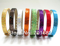 Wholesale mix color 8mm wide 210mm length 100pcs Sequin PU Leather Wristband DIY Accessories can through 8mm slide letters char
