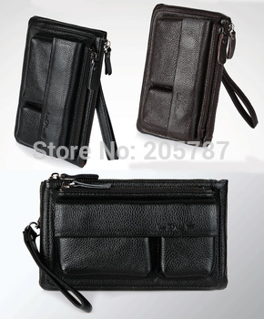 Hot sale fashion 2 colors black and brown men wallets genuine leather  handbags men (GW30)