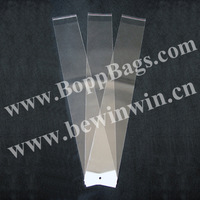 "24"" Plastic Bags For Hair Extensions (10x67cm) with white header and self adhesive tape seal & Free Shipping"