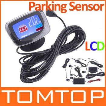 Car Reverse Parking Backup Radar Detector System 4 Sensor Sound Alert LCD Monitor free shipping