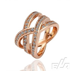 Good quality size 6,7, 8 rose gold ring 18k gold jewelry rhinestone crystal rings(China (Mainland))