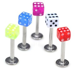 Free shipping lip piercing 60pcs/lot 18G Navel Piercing Dice belly ring,body jewelry,body jewelry piercing [ba21*60](China (Mainland))