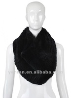 Free shipping Fashion style Rex rabbit knitted Fur snood scarf YR-058 ~wholesale~retail