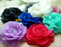 FREE SHIPPING.15cm SOFT silk flower for sinamay hat and fascinator,with brooch pin hair clip,7 colours.can pick the color.