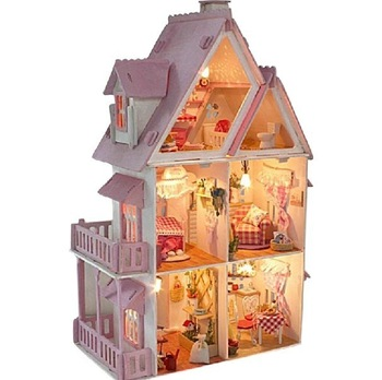 "DIY LED light 21""wooden dream dollhouse 6rooms&furnitures Sunshine Alice"