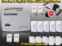 Free shipping Wireless Home alarm systems&GSM alarm system security home Russian and English Voice