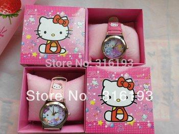 free shipping  5pcs/lot hello kitty watch kids  fashion quartz  cartoon Jelly  Candy  led with box Cute Lovely Girl woman lady