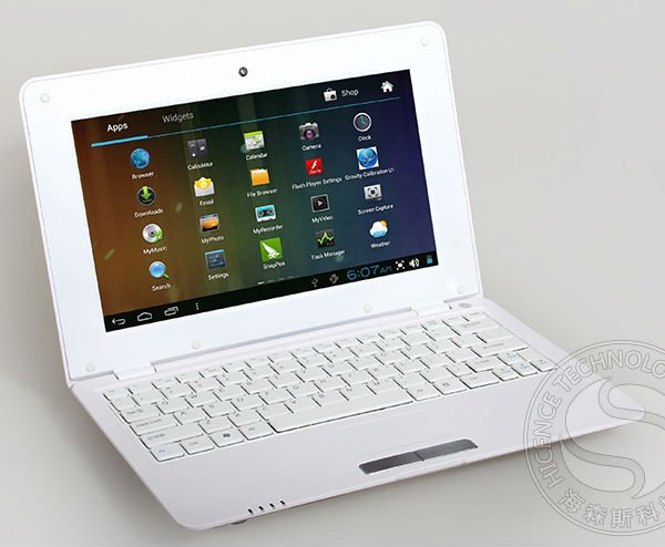Нетбуки и ПК 10 Inch Cheap Student Computer Mini Laptop Child Netbook, Android4.0 OS, 1.2GHz CPU, 4GB HDD, WiFi, RJ45 Port, Camera, Birthday Gift