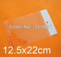 Self Adhesive Seal plastic Bags,12.5x22cm hanging hole poly bags,Opp bags, 500pcs/lot free shipping