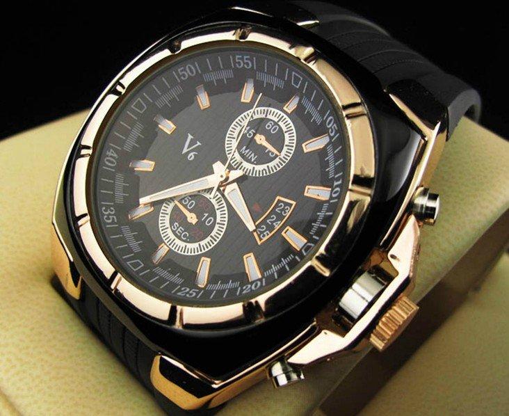 Wholesale Men's wristwatches V6 fashion Silicone strap quartz watch sports watches men ,W111(China (Mainland))
