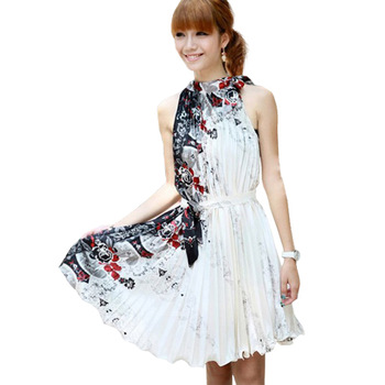 Free Shipping Plait Chinese Wind Restoring Ancient Ways Sleeveless Halter White Dress RG8118