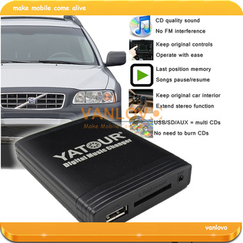 YATOUR Digital Music Changer AUX SD USB MP3 Interface for VOLVO HU-series Radio (Gift: 8GB USB Disk)