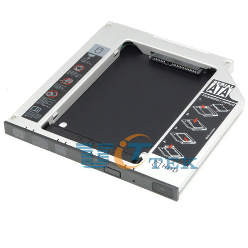 Laptop IDE to SATA 2nd HDD Hard Drive Caddy For Universal 9.5mm IDE PATA CD / DVD-ROM Opitcal Bay Aluminum(China (Mainland))