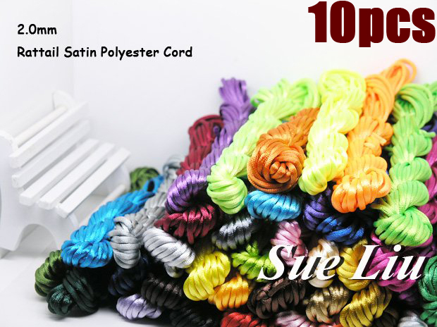 U Pick! 2mm/2.5 100yds (10pcsx10yds) Multicolor Rattail Satin Cord Chinese Beading Polyester (similar but not nylon) Cord NCP5(China (Mainland))
