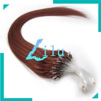 "Guarantee 100% human hair 16""-26"" Remy Micro Ring/loop/beads Human Hair Extension straight #33 dark auburn,100s per pack"