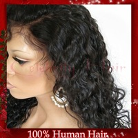 Best selling 150% density Deep curly chinese virgin human hair natural color full lace wig for african american women