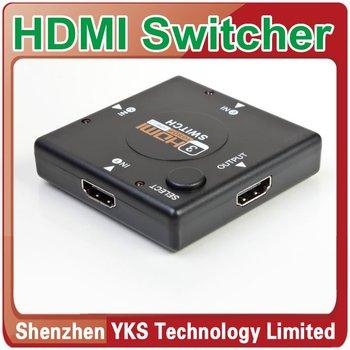 1Pcs Black Mini 3 Port HDMI Splitter for HDTV 1080P Vedio HDMI Switch Switcher HDMI Port