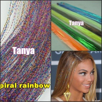 "Spiral Rainbow hair tinsel  28"" 300s/lot 1lot/package silk for hair extensions/flare strands/bling salon extensions"
