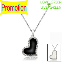 2014 Promotion Discount  Fashion 18K gold plated Oil Painting Rhinestones Black Heart Pendant Necklace jewelry 82693