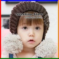 Sunshine store #2C2580 10pcs/lot (2 COLORS) two balls baby winter hat ,colorful kids knitted cap, children ear warm beanies CPAM