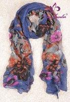 Wrinkled Scarf 10pcs/lot Thanksgiving & Christmas Gift Girls Neck Warmer Floral Shawl 100% Viscose Wrinkled Scarf