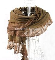 2013 autumn fashion new designer, 9 different colors, cashmere&lace, ladies classic floral lace trimmed warm pashmina scarves