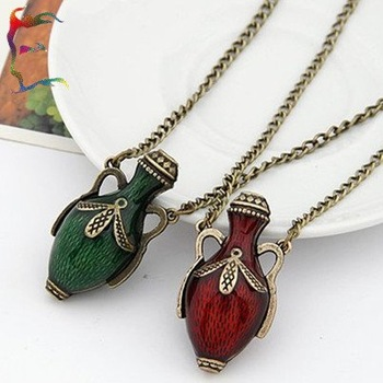 wholesale fashion Flower bottle necklace 24pcs/Lot Red Green casual cartoon pendant sweater chain sport hanging necklace jewery