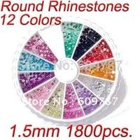 1800pcs 12 Colors 1.5mm Nail Art Glitters Rhinestones designs 20 Round Wheels