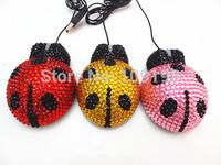 Novelty rhinestone  ladybug animal optical computer mouse(20pcs/lot)