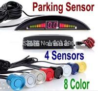 Car LED Parking Reverse Backup Radar Monitor System with Backlight Display+4 Sensors 7 colors Wholesale 12V  Free Shipping