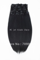New Listing Synthetic clip in  hair extension Kanekalon 10pcs 170g 1set  24 inch color:#1 jet black